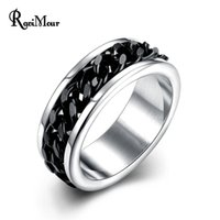 Fashion Brand Stainless Steel Black Chain Ring for Men Jewel...