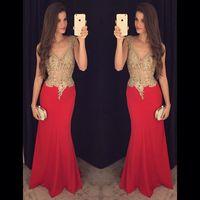 Потрясающие платья выпускного вечера 2016 V шеи Вечерние платья 2017 Sexy золотой и красный выпускного вечера платья партии Бисероплетение Кристаллы Блестки Вечерние платья