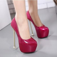 Glossy candy color patent PU leather platform pumps sexy lad...