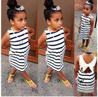 Girls Summer Striped Bow Sleeveless Backless Dresses For Bab...