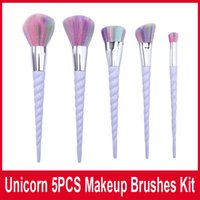 Новые Unicorn щетки состава 5pcs / набор Профессиональные кисти для макияжа Кисти Красочные Кисти Пластиковые Unicorn Спираль кисть Powder DHL