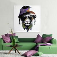 Обрамленный холодный лев, Чисто ручная роспись Современная абстрактная живопись маслом животного искусства, Домашний декор стены На Высокое качество Размер холста можно настроить