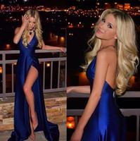 Новый 2017 год Royal Blue Sexy Глубокий V шеи платья выпускного вечера Длинные стороны высокого Раскол партии вечера платья дешевые знаменитости вечерние платья