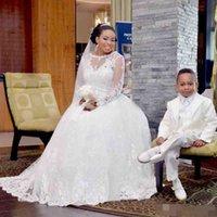 Африканские Negerian шнурка с длинным рукавом свадебные платья 2017 года с 3M вуали Линия Sheer Jewel шеи свадебное платье Hollow назад сшитое