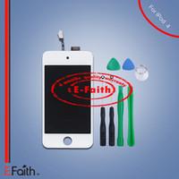 Livraison Gratuite Pour iPod Touch Blanc 4 Ecran LCD Touch Screen Digitizer Remplacement avec Outils Ouverts
