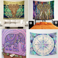 Indian Elephant Mandala Tapestry Hippie Wall Hanging Tapestr...