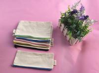 100Pcs lot 20*14cm Mix zipper Pure white cotton canvas cosme...