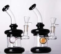 Petite bongs en verre noir avec perc downstem de fleur mini tube d'eau de verre de verre avec un joint de 14 millimètres