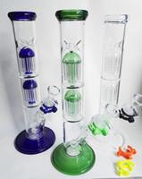 2017new Le verre de conception le plus tard Bong double 9arm arbre percolateur perc verre tuyau d'eau plate-forme pétrolière 18mm joint avec des conduites d'eau de cuvette