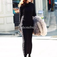 Wholesale- Maxi Knitted Sweater Dress Bodycon Long Sleeve Woo...