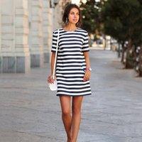 Striped Flora Printed Dresses 2017 New Fashion Summer Crew N...