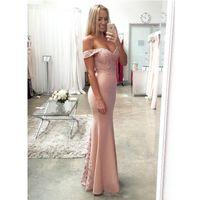 Новый Blush Pink Дешевые невесты платья Sexy Русалка Кружева Длинные Формальная свадьба платья 2017 года платья партии вечера