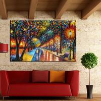 Обрамленная Парк-стрит, Ручная роспись Современная абстрактная живопись маслом, Домашний декор на Высокое качество Размер холста можно настроить