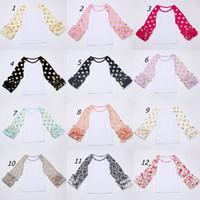 Sweet Girl Ruffle Sleeve Tops com impressão de ponto de polca de ouro Baby Girls boutique o-pescoço casual camisa Outono queda flor tops