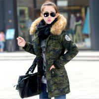 4XL Notícias inverno casaco de mulheres parka Camuflagem 2016 no casaco de moda longa jaqueta de revestimento de espessamento de peles de colarinho verde feminino H128