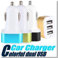 Pour iPhone 7 6 6s plus chargeur de voiture Traver Adaptateur voiture Plug 3 ports USB chargeur de voiture pour Samsung DHL Livraison gratuite