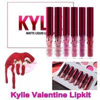 Дженнер Lipkit Валентина издание помад красивые 6шт / комплект Kylie Liquid Matte Lipstick Валентина блеск для губ Высокое качество