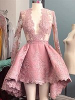 Hot Venda 2017 Pink V Neck Cocktail Vestidos Lace Applique Joelho Comprimento Prom Dresses Manga Longa Hi Low Homecoming Partido Vestidos Custom Made