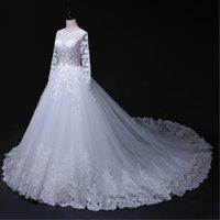 Custom Made Illusion Wedding Dresses A- Line Scoop Hollow Zip...