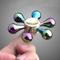 Cuivre en métal Rainbow EDC Fibre à main Spinner à main 6 tours Fidget Spinner Bricolage en céramique Focus Toys Decompression