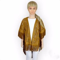Fashion Kids Girls Tassels Capes Vintage Hollow Out Cute Spr...