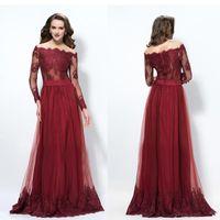 2017 Burgundy Bateau A- Line Long Prom Dresses Custom Made Lo...