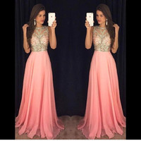 2017 Prom Dresses Chiffon Lace Applique Beaded A Line Crew N...