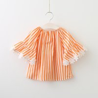 Everweekend Girls Stripes Tees with Lace Bell Sleeve Western...