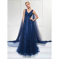 Special Design Lace Navy Blue Dress Evening Wear Long Custom...