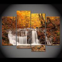 4 шт Холст Живопись Осенний водопад HD отпечатанные картины на холсте Настенные рисунки Home Decor Картинки для гостиной XA148D