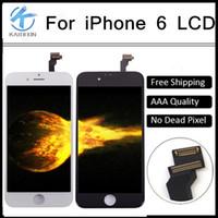 Pour iphone 6 4.7 pouces écran LCD Touch écran numériseur pièces de réparation d'assemblage, qualité AAA, blanc ou noir, livraison gratuite