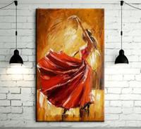 испания танцор с красным платьем, Handcraft Современные абстрактные декора стены искусства картина маслом на качество цыплят anvas Мульти размеры Ab012