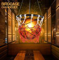 Искусство Баскетбол лампа личности ресторан бар магазины стадион спортивная тема Арт Деко кулон лампа Детская комната баскетбол Подвеска свет