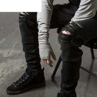 Fashion Mens Straight Slim Fit Biker Jeans Pants Distressed ...