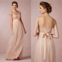 2016 Hot Sale BHLDN Cheap Blush Pink Bridesmaid Dresses Shor...
