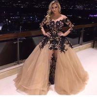 2017 арабский дизайн Саудовская Аравия знаменитости вечернее платье с длинным рукавом Черная аппликация Red Carpet знаменитости платья партии со съемной поезд