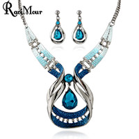 RAVIMOUR Blue Crystal Jewelry Sets Fashion Droplet Statement...