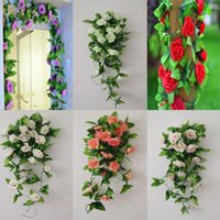 Wholesale- Fashion Artificial Rose Flower Ivy Vine Leaves Han...