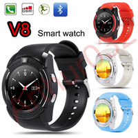 Smart Watch V8 ronda Dial Bluetooth Smartwatch telefone suporta SIM com 0,3 M câmera esportes relógios de pulso para iOS Android Wearable Wristwatch