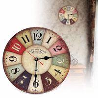 Wholesale Vintage Wooden Wall Clock Shabby Chic Rustic Retro Kitchen Home Antique Decor Decor Kitchen Wall Clocks Decoration