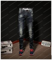 Fashion New Men Elasticity Skinny Slim Biker Jeans Hole Patc...
