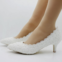 wedding shoes white flower lace pearl high heels bridal shoe...