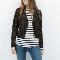 Women plus size black faux PU leather motorcycle jackets sex...