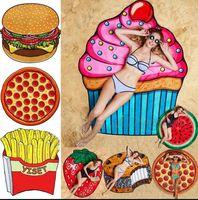 11 Designs Redonda Toalha de Praia Pizza Hamburger Crânio Ice Cream Strawberry Smiley Emoji Abacaxi Melancia Toalha Chaleira Manta OOA1390