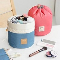 New Barrel Shaped Travel Cosmetic Bags Make Up High Capacity...
