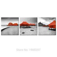 3 Панели Мальдивы Хижина Холст Живопись Картины Пейзаж Картинная Стена Искусство Картина с Деревянным Обрамленным Для Домашнего Украшения