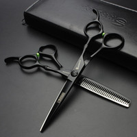 black hair scissors 6inch professional barber hairdressing s...