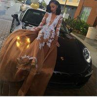 Champagne Sexy Black Girl Prom Dresses 2017 Deep V Neck Whit...