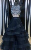 Jewel Neck Beaded Crystal 2 Pieces Prom Dress With Zipper Ba...