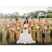 Блестки Bridesmaids платья Русалка 2016 Maid Of Honor мантий Бич Недорого Назад Bridesmaid платья в запасе